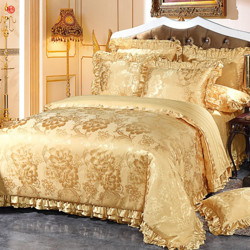 2018 ensemble de literie de luxe jacquard blanc d 39 or literie king size housse de couette drap. Black Bedroom Furniture Sets. Home Design Ideas