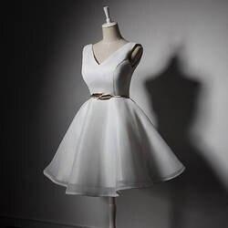 Для женщин дамы рукавов Свадебная вечеринка платье V шеи Элегантные Короткие платье подружки невесты строки Пром платье с поясом