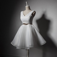 Women Ladies Sleeveless Wedding Party Dress V Neck Elegant Short Bridesmaid Dress A Line Prom Gown with Sash Accessories