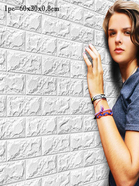Горячая продажа ПЭ Пена 3D Обои DIY настенные наклейки на стену, украшение тиснением обои под кирпич дом комнаты 60X30X0,8 см плакат