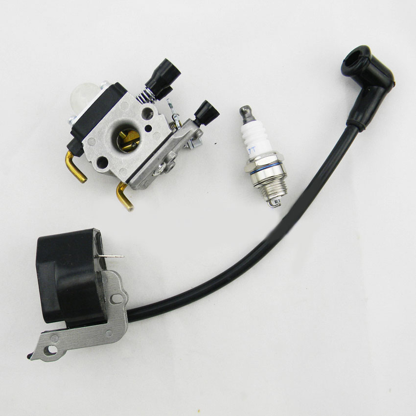 Ignition coil +Carburetor +Spark Plug For STIHL Chainsaw FS38 FS55 FC55 FS45 FS46 KM55 HS45 Chainsaws parts rb 100 carburetor overhaul rebuild repair kit for zama carb bg55 hs45 fs38 fs55 weedeater mcculloch chainsaws brush cutter