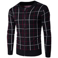 Winter Warm Sweatercoat Zipper Casual Cardigan Plaid Pattern Knitwear Plus Size Men Sweaters Cardigans Jacket For Men Clothing