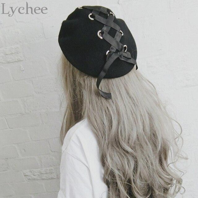 f726e2a8b20f2 Lychee Japanese Lolita Style Women Ring Ribbon Lacing Bow Wool Hat Harajuku  Casual Loose Black Beret