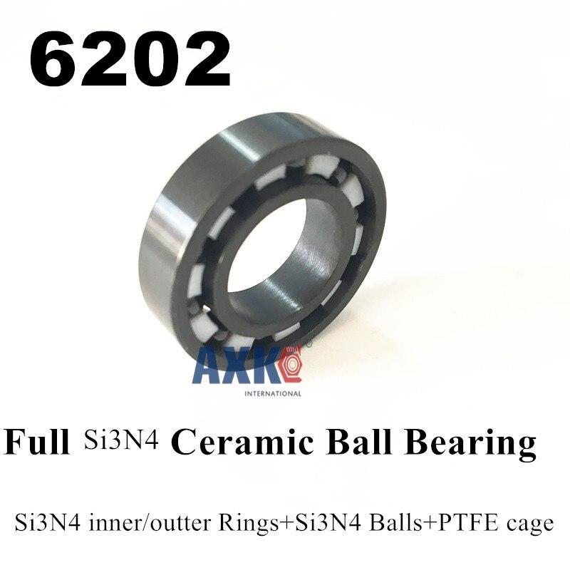 6202 Full Si3n4 ceramic bearing 15*35*11mm  6202 SI3N4 CB ceramic si3n4 rings/balls+ptfe cage free shipping 6806 full si3n4 p5 abec5 ceramic deep groove ball bearing 30x42x7mm 61806 full complement