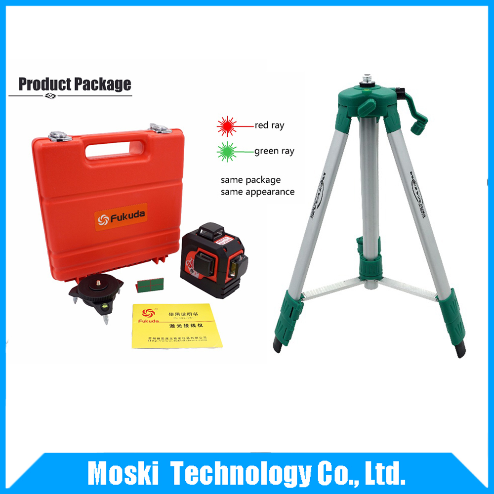 Red lines or Green lines Fukuda,MW-93T 3D 12Lines laser level + tripod blood lines