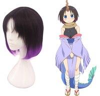 Anime Kobayashi san Chi no Maid Dragon Eruma Elma Hair Purple Wig Mixed Color Cosplay Wig Hair Role Play
