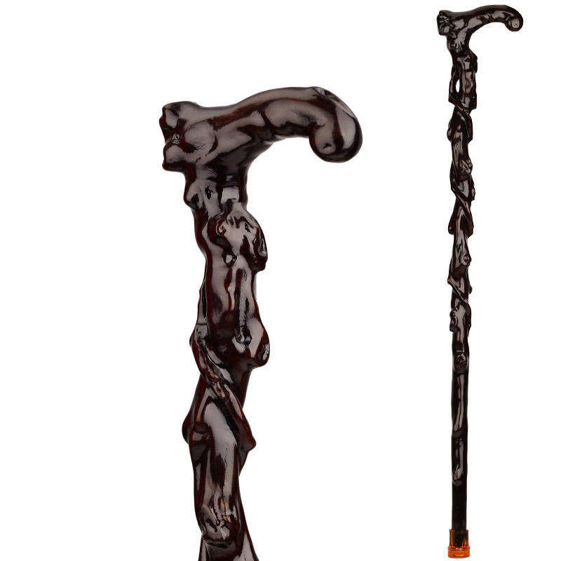 old menwood carving iron crutch over Fu pear rosewood cane Walker elderly Filial piety elderly Genuine conry Lang