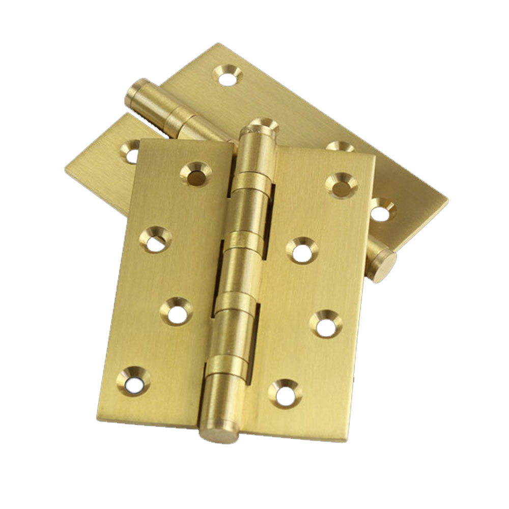 4 Inch Full Copper Wood door hinges Gold color door hinge for heavy doors Brass Entry door hinge with 4 ball bearing 1 pair 4 inch furniture hinge stainless steel hinge door hinge satin finish lash hinge