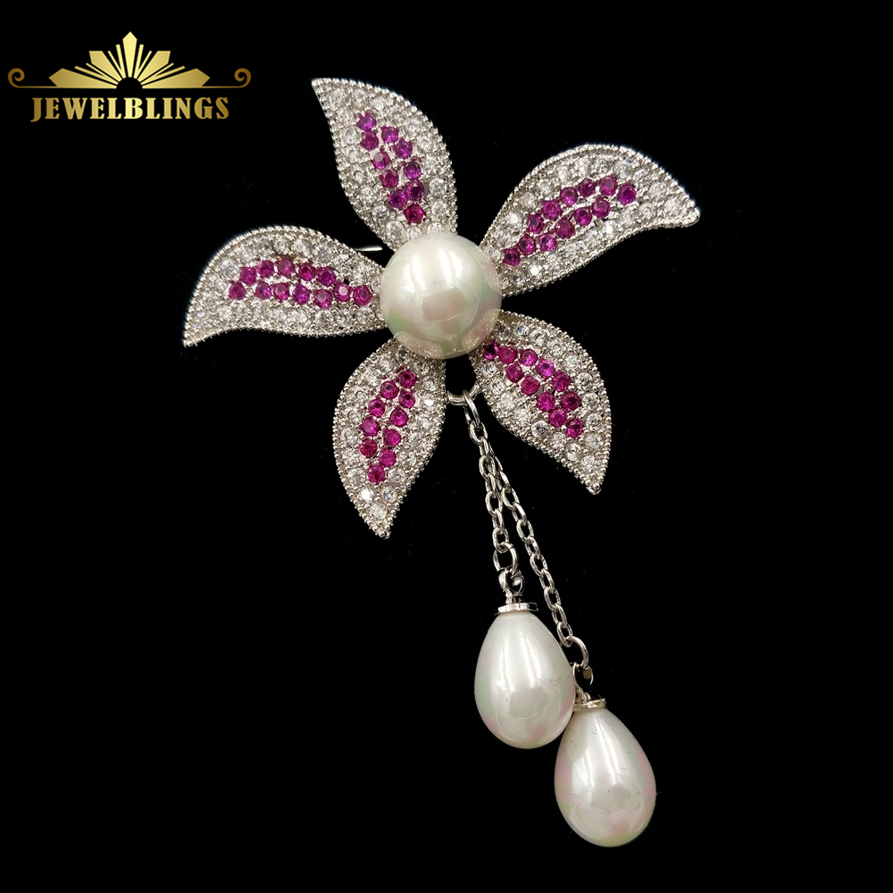 Elegant 2 Shell Pearl Drop Chain Orchid Flower Brooches Silver Tone Micro Pave Clear and Red CZ Flower Drop Pins for Wedding карликовое дерево large orchid flower 20 sementes semente yd34e