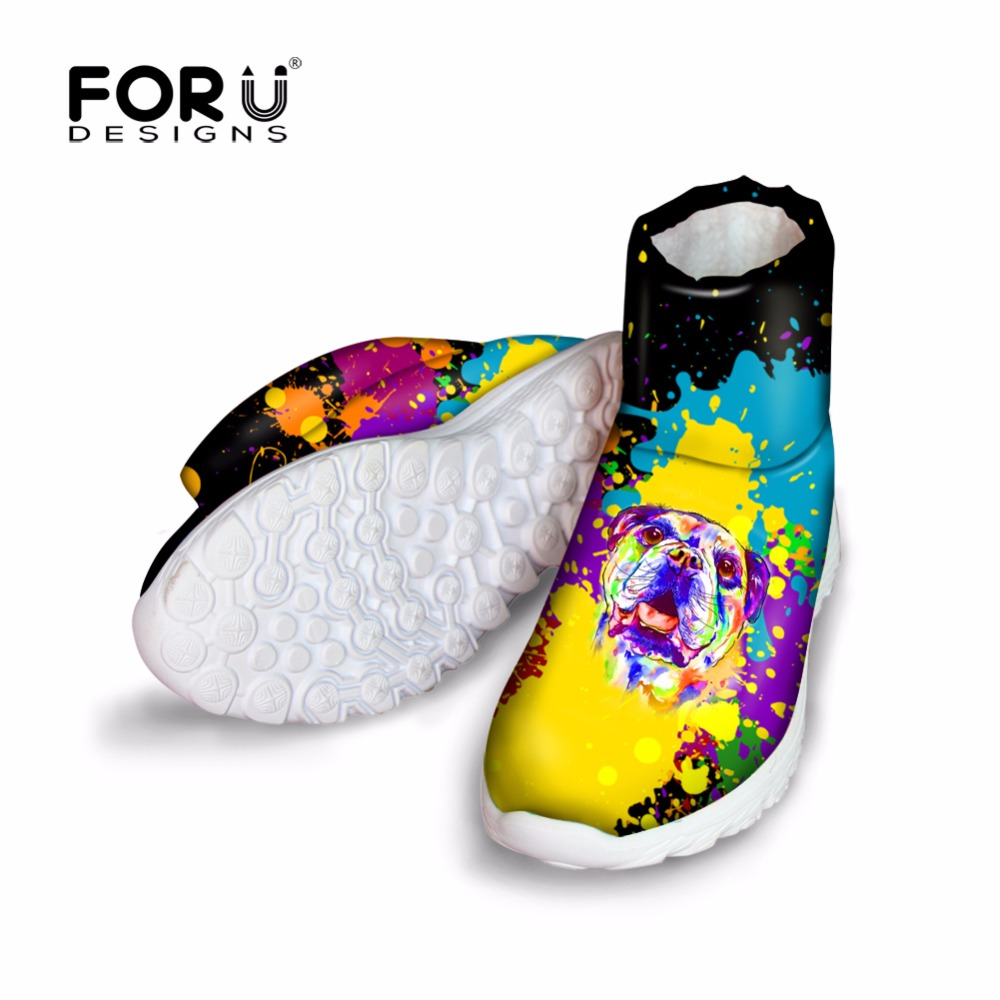 FORUDESIGNS Snow Boots Women 2017 Colorful Animal Dog Printed Women's Winter High Quality Short Boots Female Warm Fur Boots blackman malorie snow dog