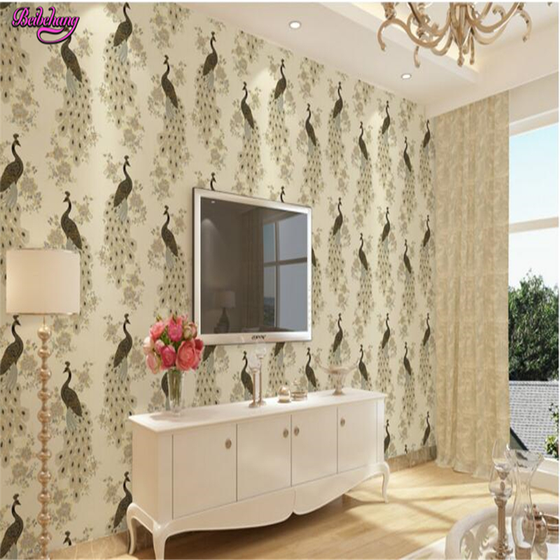 beibehang papel de parede Neo - classical living room bedroom peacock TV stereo gold imitation embroidery wallpaper papier peint beibehang vertical striped embroidery diamond in the mediterranean bedroom living room wallpaper tv wall papel de parede