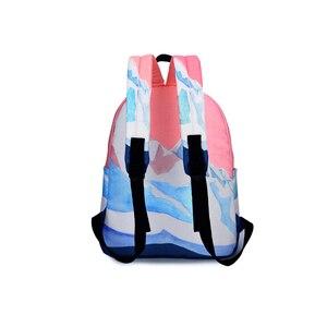 Image 5 - Pink Printing Canvas Women School Backpack Female Schoolbag Backpack School Bags For Teenage Girls Mochilas Mujer 2018