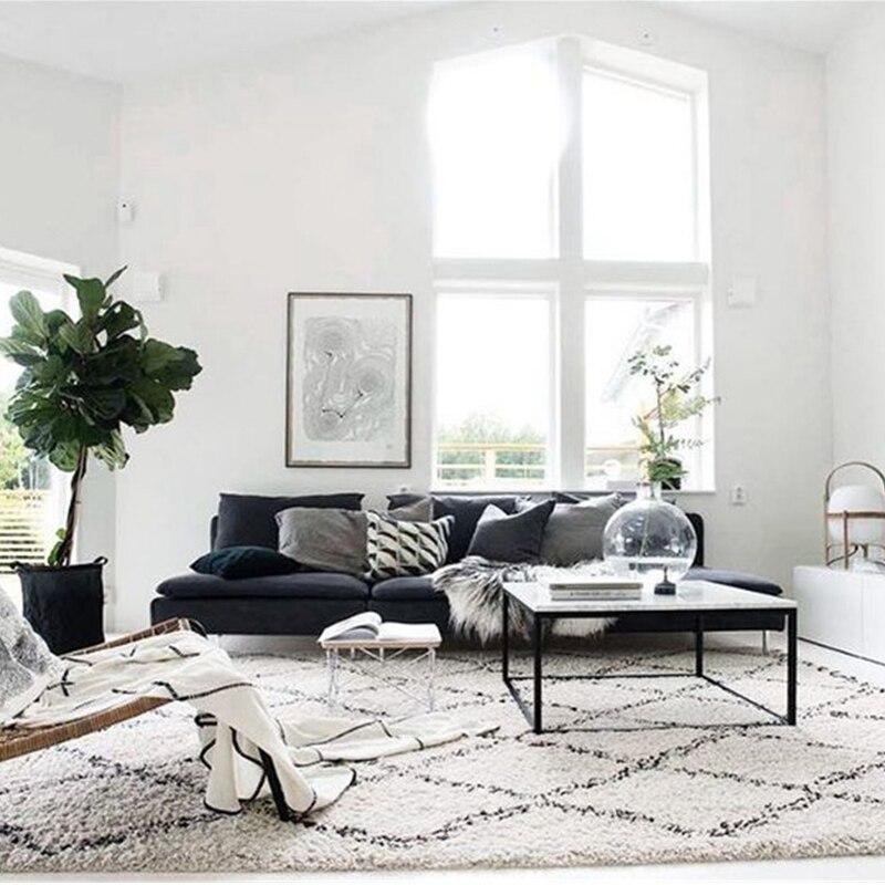 INS Kilim fait main maroc tapis pour salon géométrique bohême indien chambre tapis Plaid rayé noir blanc Design nordique