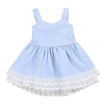 Children Dress Girls Blue Stripe Lace Summer Fashion Cute Double Dress Solid Sleeveless Cotton Dress(China)