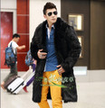 Europe and America style genuine fur coat men outdoors long overcoat men chaqueta hombre men's cotton padded clothing /MY3