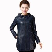 Женская Одежда Новая повседневная куртка кожа женщин Свободные Большие размеры кожаная куртка женская верхняя одежда высокого качества мо