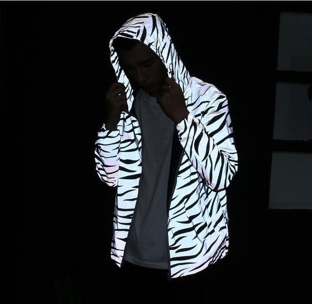 Reflective Light Jacket Men Mesh Style Noctilucent Zebra Jackets Hip Hop Streetwear Skateboard Waterproof Coat Outwear