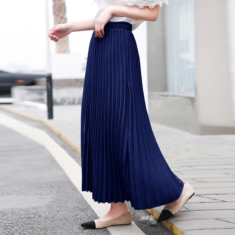 LANMREM 2020 New Summer Fashion Women Clothes Solid Color LongPleated Skirt High Waist Half-body Skirt Woman Elastic Waist Skirt