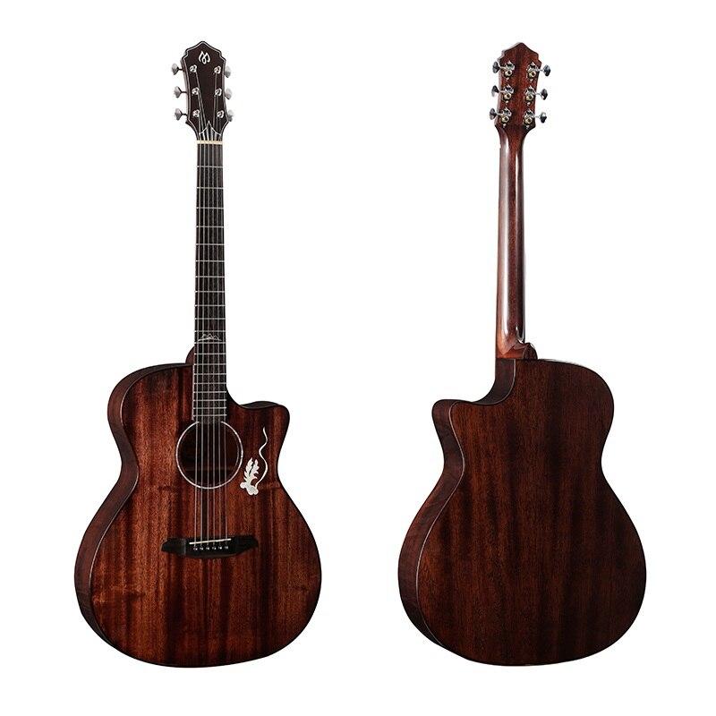 41inch corner Solid Top guitar Mahogany solid wood open knob fingerstyle guitar bovine bone nut unisex