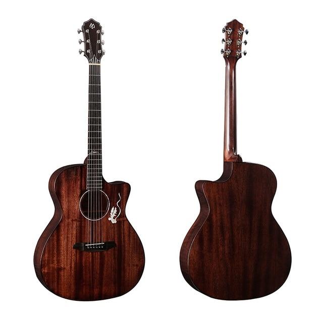 41 polegada canto Sólida Top guitarra de Mogno madeira maciça aberto botão fingerstyle guitarra porca de osso bovino unisex 41 polegada acústico guitarra