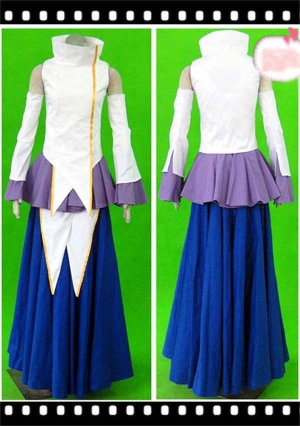 Anime Gundam Seed Destiny Lacus Clyne Cosplay Costume White Blue Dress Skirt Free Shipping