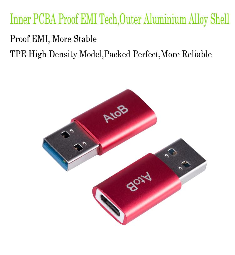 atob выступает сетевой USB-адаптер 3, 0 папа-тип C 3, 1 мама зарядное устройство для синхронизации данных и быстрой зарядки по USB С тип-с конвертер для макбук с OnePlus и Huawei Xiaomi красный рис