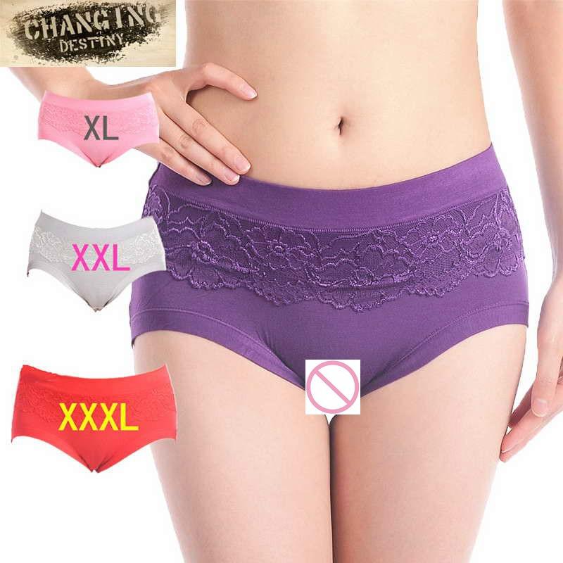 Fashion Women Briefs High Waist Sexy Lace Panties Lady Fashion Plus Size  Underwear Underpants Body Shaper Hip Abdomen XL-XXXL