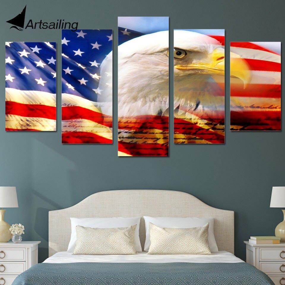 5dílné plátno Art Eagle Flag USA Printed Wall Art Home Decor - Dekorace interiéru