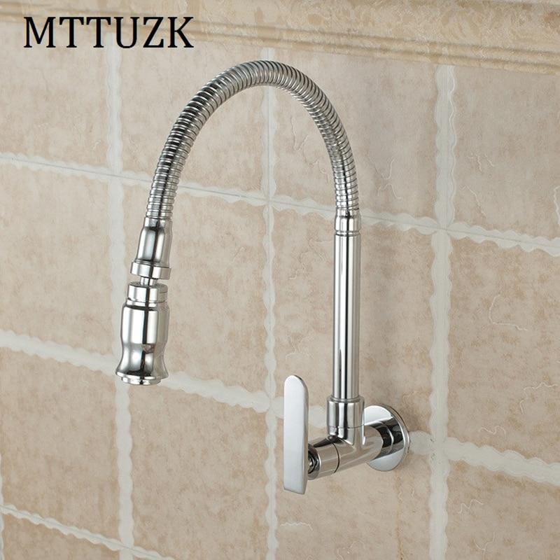 MTTUZK Free Shipping!In Wall Mounted Brass Kitchen Faucet. Fold Expansion. DIY  Kitchen Sink Tap.Washing Machine Faucet 1pcs/lot