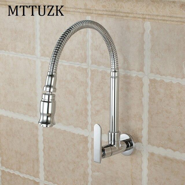 Mttuzk free shippingin wall mounted brass kitchen faucet fold in wall mounted brass kitchen faucet fold expansion diy kitchen workwithnaturefo