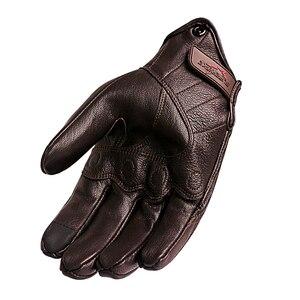 Image 3 - Moto rcycle 手袋レザータッチスクリーン男性本革サイクリンググローブ moto rbike レース guantes デ moto luvas デ moto cicleta
