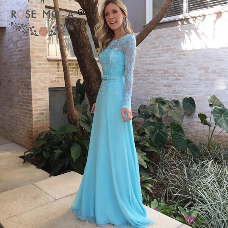 Rose Moda Long Lace Sleeves Blue Floor Length Prom Dress Fully Beaded Formal Party Dress with Illusion Back
