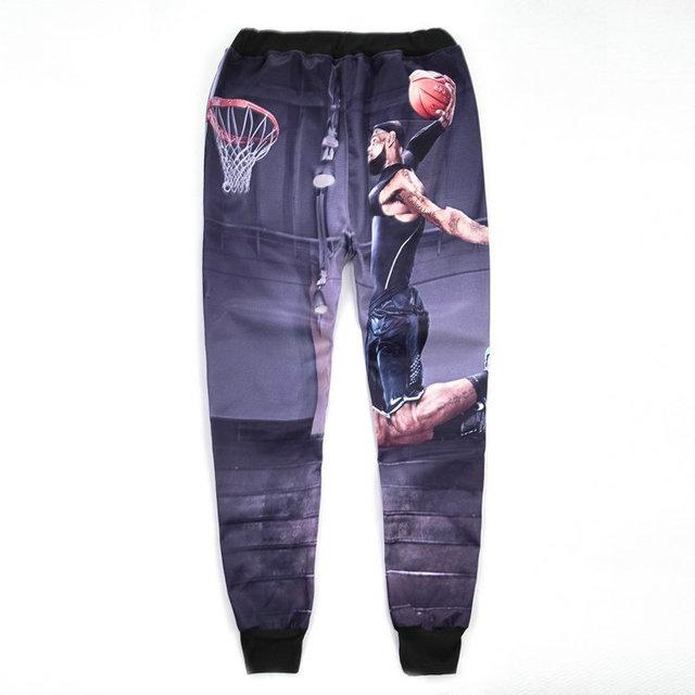2017 outono e inverno all-star james moletom 3d impressão altura calças de lazer calças calças basculador hip hop legal harem pants