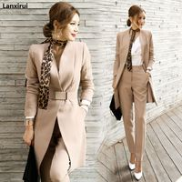 Autumn Womens 2 Piece Pant Suits Women Casual Office Business Suits Formal Work Wear Sets Uniform Styles Elegant Pant Suits