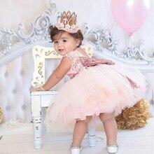 Bébé fille robe Grand Arc Paillettes Dentelle Robe Blanc D'anniversaire parti Robe De Mariage robe robe bebe roupas de bebe menina batizado