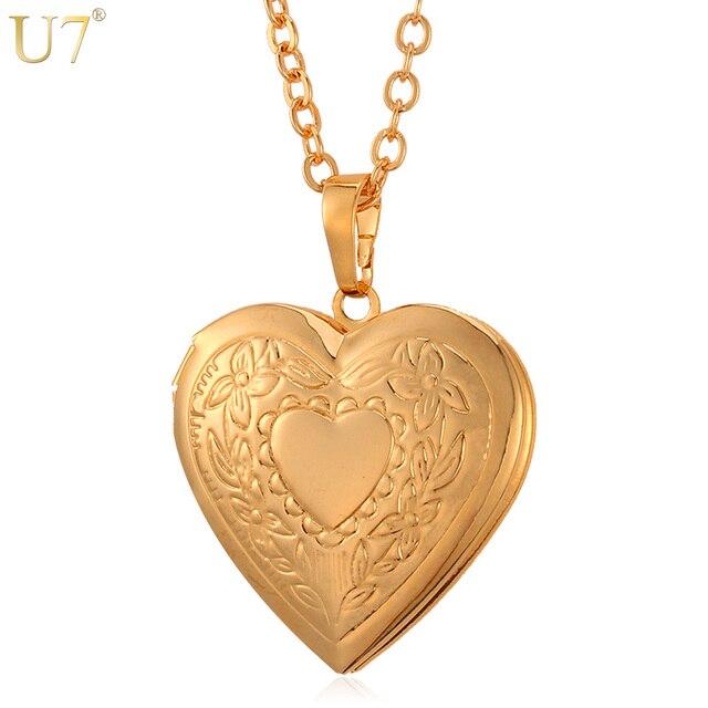 U7 floating locket necklace pendant women jewelry bridesmaid gift u7 floating locket necklace pendant women jewelry bridesmaid gift gold color vintage photo heart charm necklace aloadofball Choice Image