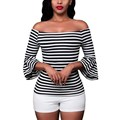 New Arrival Fashion Sexy Off Shoulder Women Striped Blouse 2017 Spring Ladies Flare Sleeve Slim Fit Causal Tops Shirt Blusas