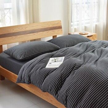 Geometric Striped Comforter Bedding Sets Soft Cozy Warm Cotton Duvet Cover Set Bed Linen Pillowcase Queen King Size 4pcs Sets