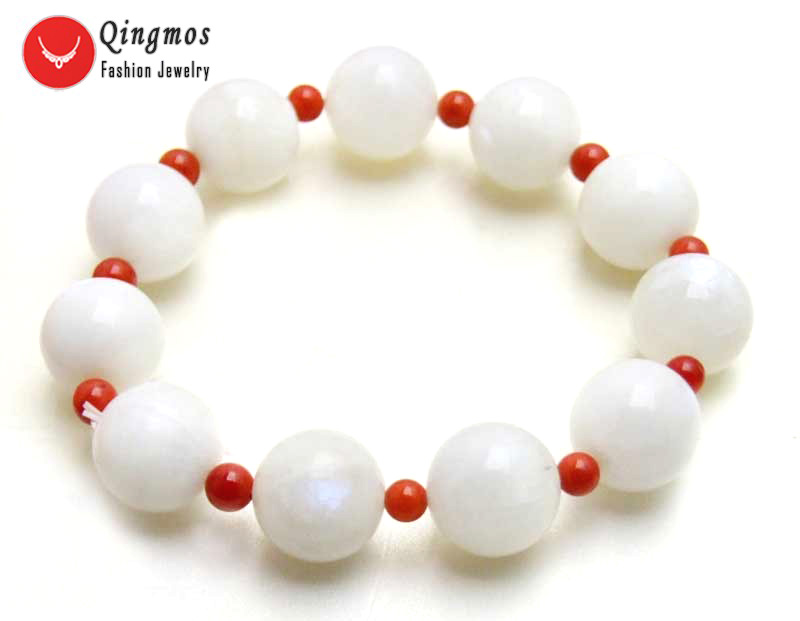 Qingmos Fashion Bracelet for Women with White 12mm Moonstone Stone Bracelet & 4mm Red Round Coral Bracelet 7.5'' Jewelry bra414