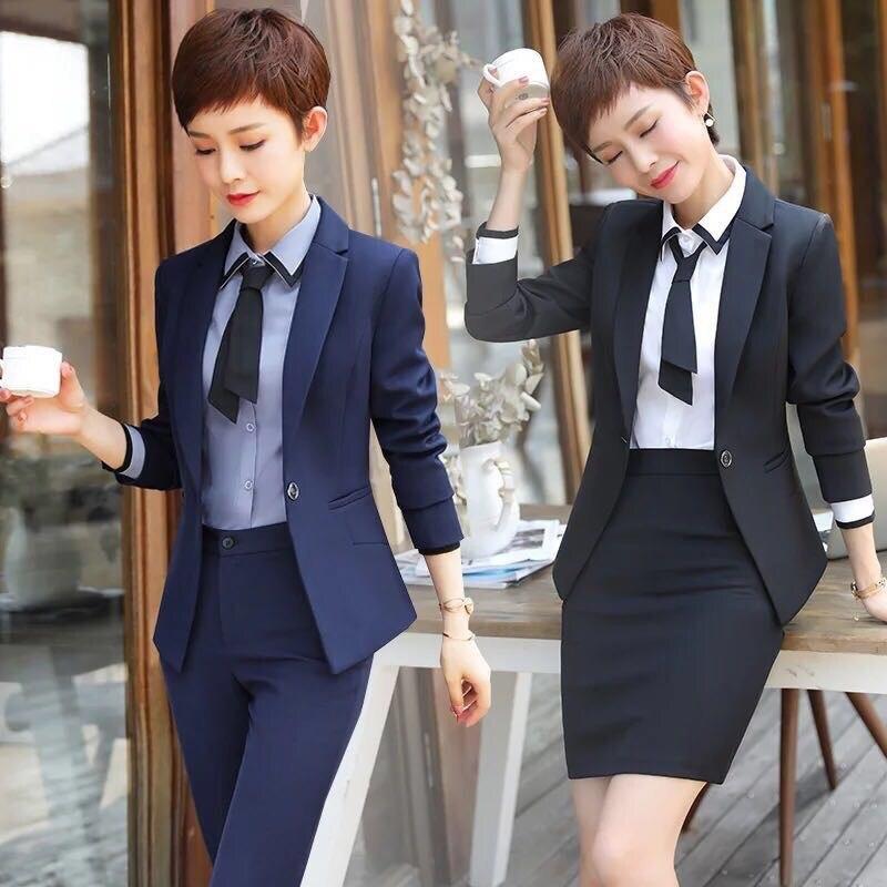 IZICFLY nouveau bureau dames uniforme garniture damski affaires femmes costumes ensemble 2 pièces pantalons costumes conbinaison femme travail porter 5XL