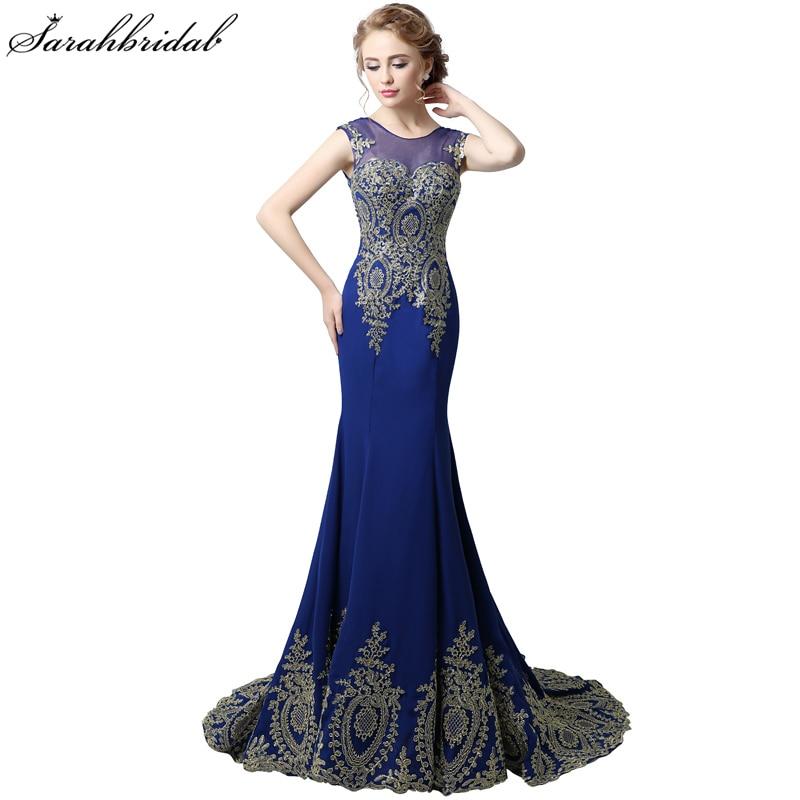 Élégant bleu Royal en mousseline De soie formelle robes De soirée en dentelle or sirène robes De bal à lacets robes De bal Robe De soirée XU039