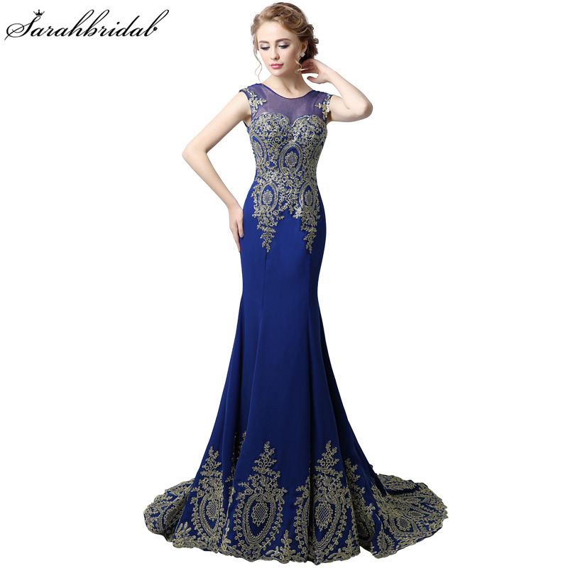 Elegant Royal Blue Chiffon Formal Evening Dresses Gold Lace Mermaid Prom Gowns Lace Up Prom Dresses Robe De Soiree XU039