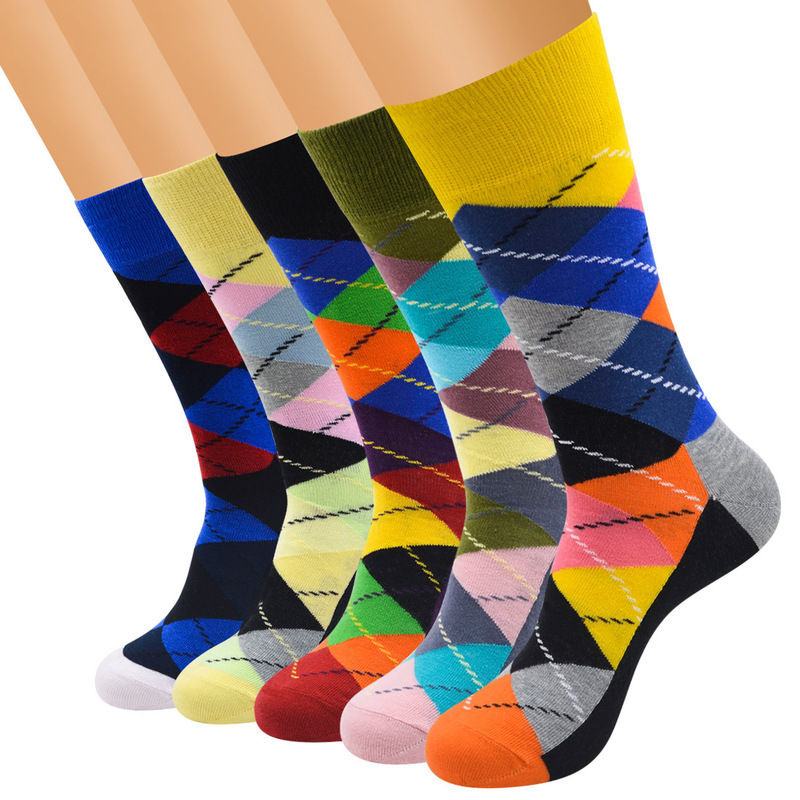 Mens Fun Happy Socks Casual Free Boutique Delivery Retro Hit Color Street Mens Socks Colorful Socks (5 pairs/multiple) No Box