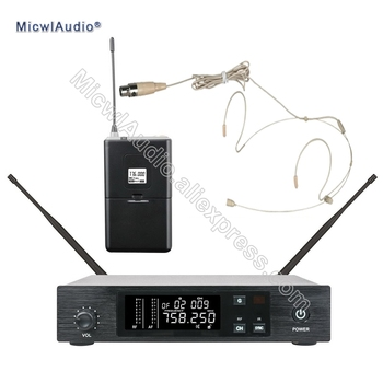 96 Channel Stage Performance Singing Wireless Microphone Speaking UHF System Transmitter Sets With Beige Headworn For Bodypack