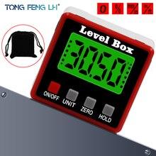 ความแม่นยำดิจิตอล Inclinometer ระดับกันน้ำกล่อง Digital Angle Finder BEVEL BOX พร้อมฐานแม่เหล็ก