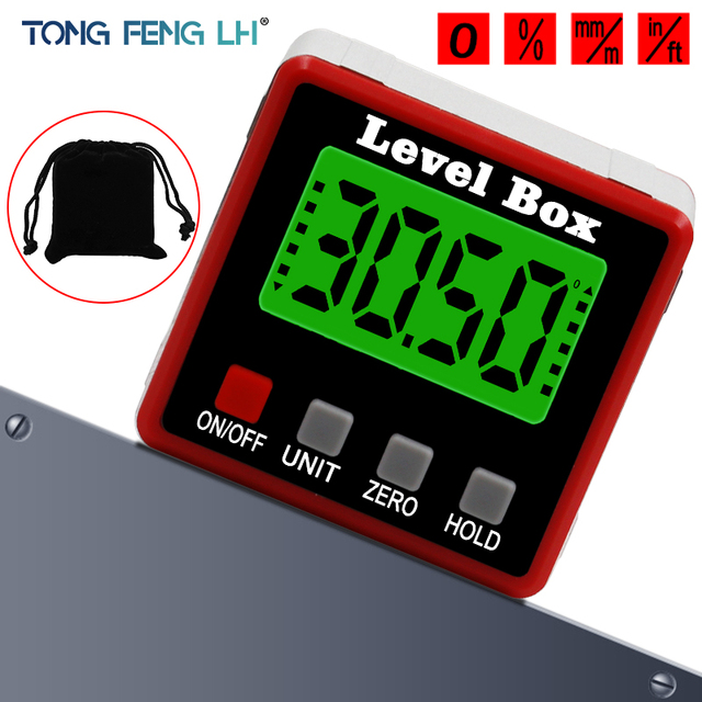 Precision Digital Protractor Inclinometer Water Proof Level Box Digital Angle Finder Bevel Box With Magnet Base