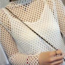 736b40a88b Negro gran malla tela diamante malla rallado jeans mesh ropa stretch red de  pesca paño(