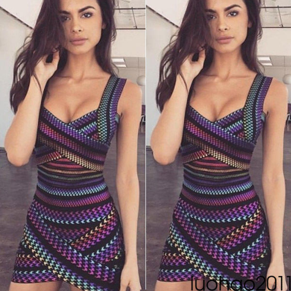 Sexy Criss Cross Bodycon Dress Women Spring Sleeveless Night Club Wear Bandage Party Dresses Black colorful