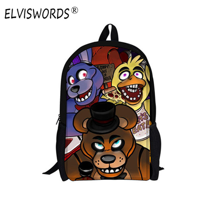 ELVISWORDS 16 inch Cartoon Five Nights at Freddys School Bags Backpack 3d Children Schoolbags For Teenagers