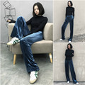 Vintage High Quality Velvet Blue Fashion Long Warm Casual Wide Leg Relaxted Women's Trousers 2017 Autumn Spring Runway Pants